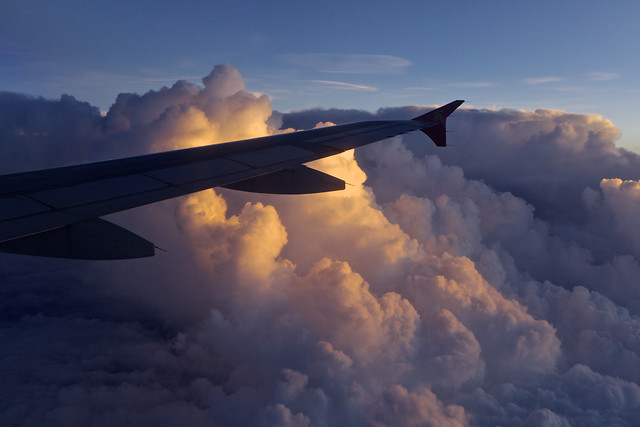 airplane-aircraft-sunset-no-person-sky picture material