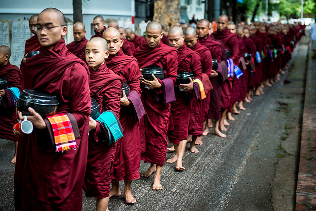 people-religion-monk-red-street picture material