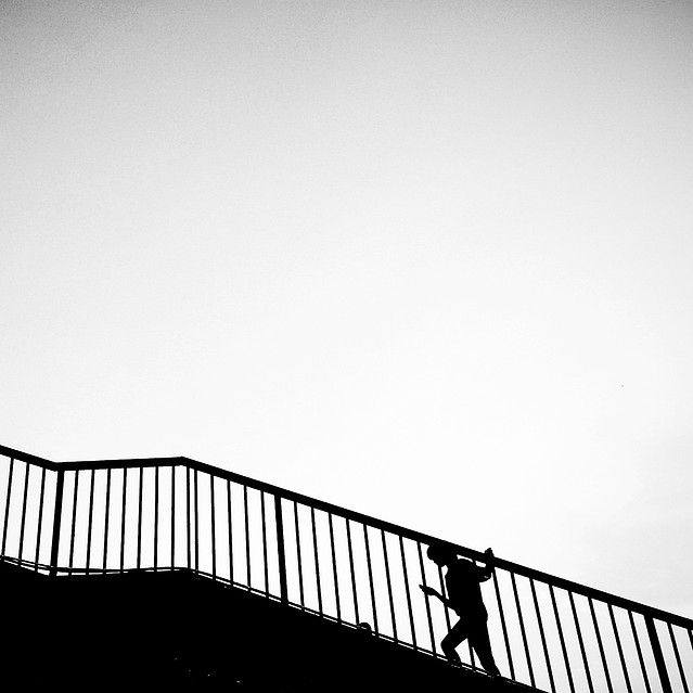 monochrome-bridge-step-black-sky picture material