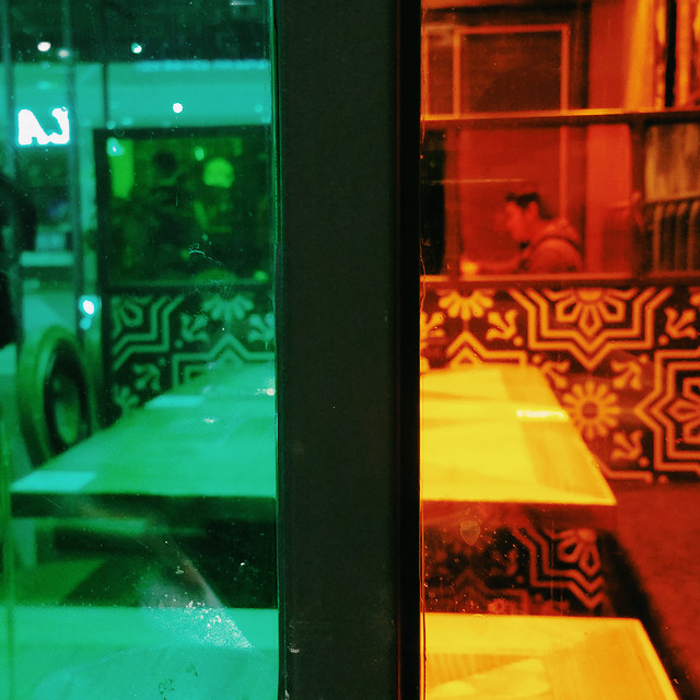 green-light-reflection-restaurant-city picture material