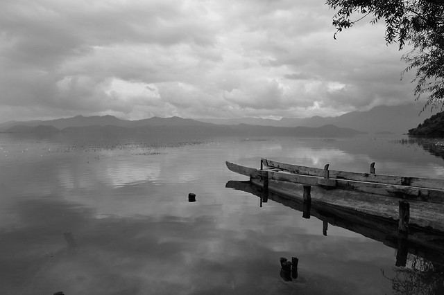 no-person-water-dawn-sky-monochrome picture material