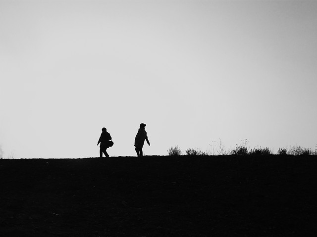 people-landscape-backlit-silhouette-sky picture material