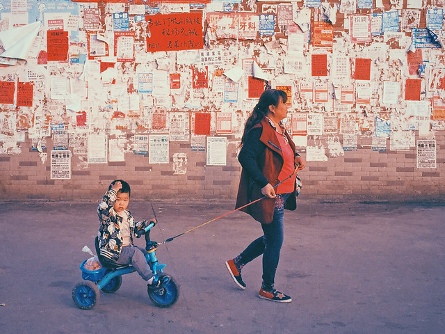 people-child-street-blue-woman picture material