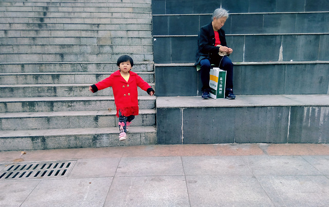 people-street-red-child-city picture material