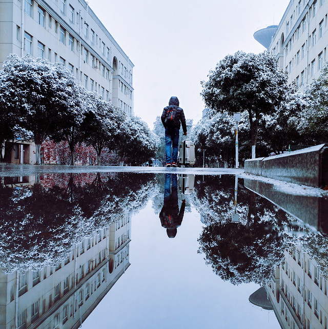 water-winter-reflection-architecture-city 图片素材