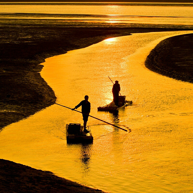 water-fisherman-lake-sunset-river 图片素材