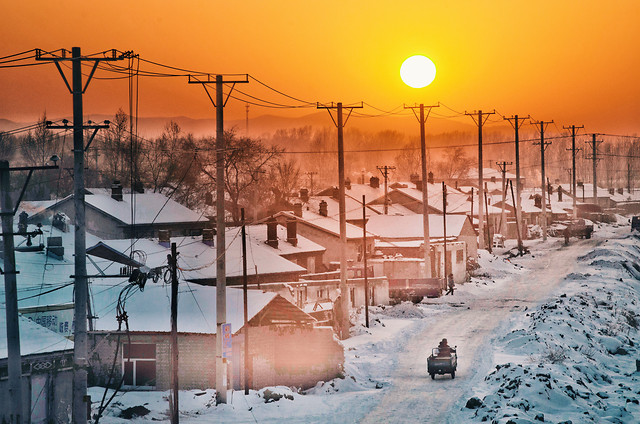winter-snow-sunset-dawn-sky picture material