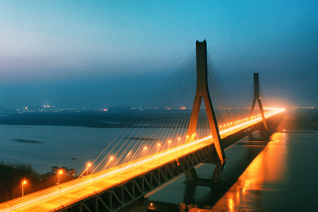 bridge-traffic-highway-dusk-transportation-system picture material