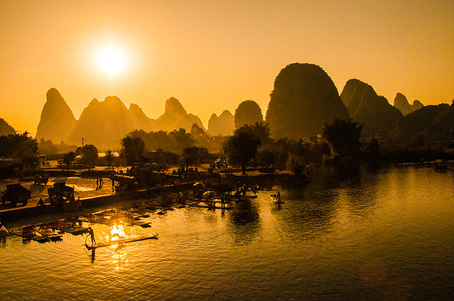 sunset-dawn-water-evening-backlit 图片素材