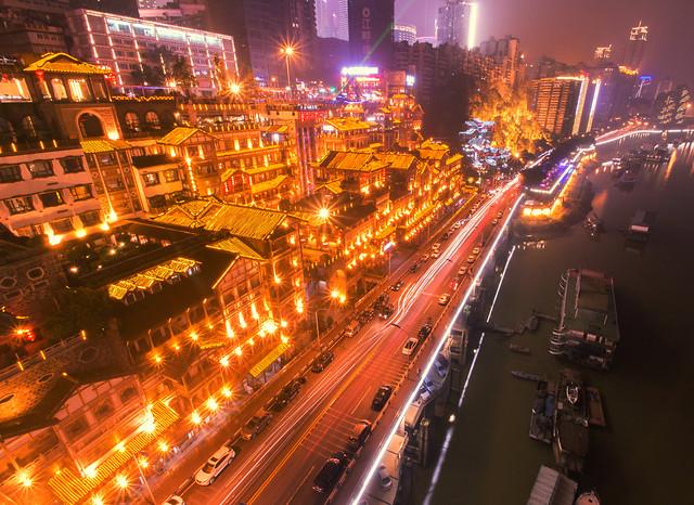 city-downtown-traffic-evening-chongqing 图片素材