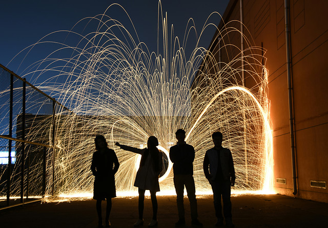 people-light-flame-city-night picture material