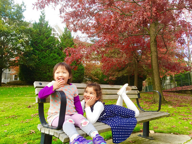 park-fall-people-child-bench 图片素材