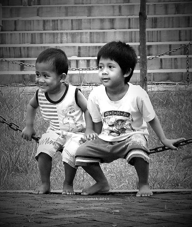 child-people-two-boy-monochrome picture material
