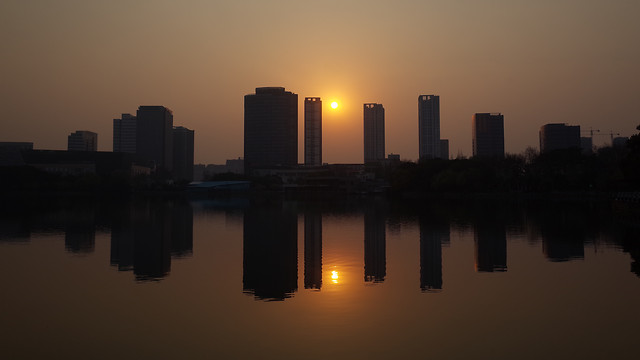 sunset-reflection-no-person-dawn-architecture picture material