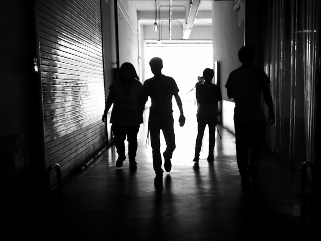 people-monochrome-street-silhouette-man picture material
