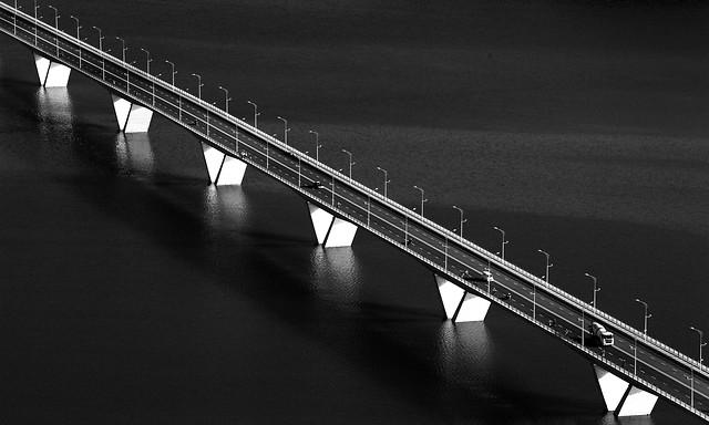 bridge-blur-no-person-street-monochrome picture material