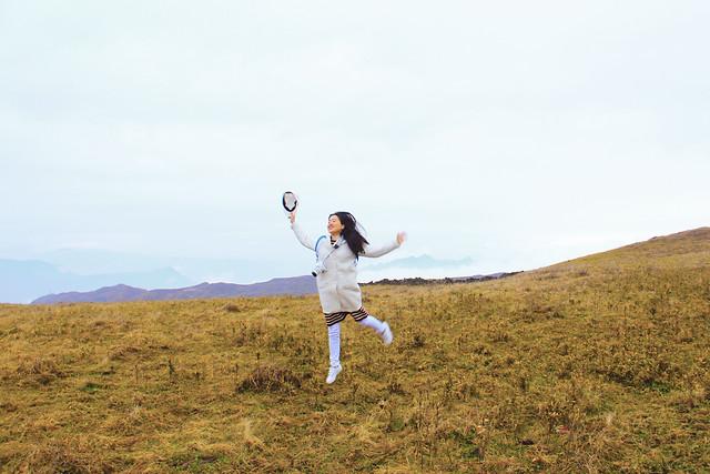 grass-landscape-sky-girl-grassland picture material