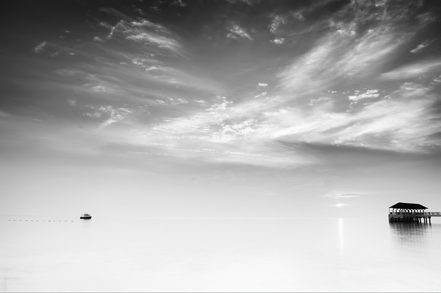 no-person-landscape-sky-beach-monochrome picture material