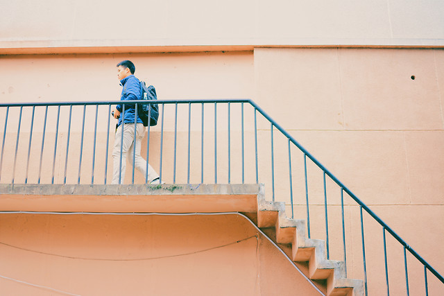 step-blue-indoors-people-architecture picture material