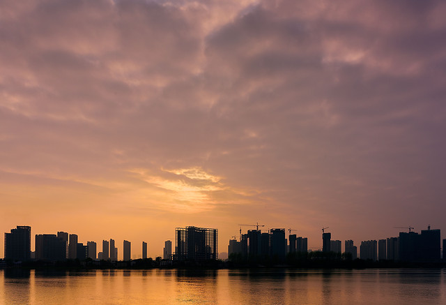 sunset-water-city-no-person-architecture 图片素材