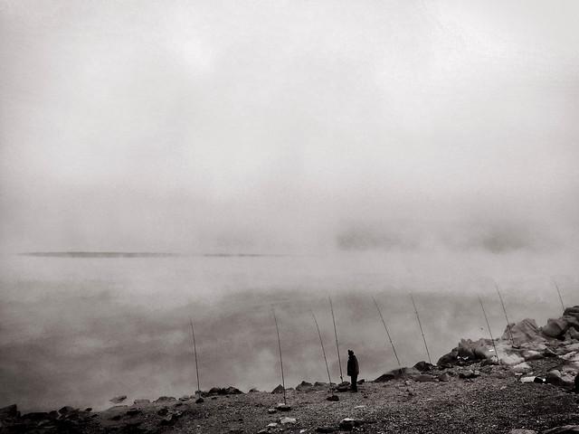 smoke-landscape-fog-storm-monochrome picture material