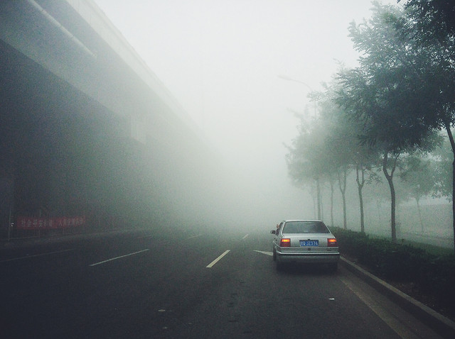 road-car-transportation-system-rain-fog picture material