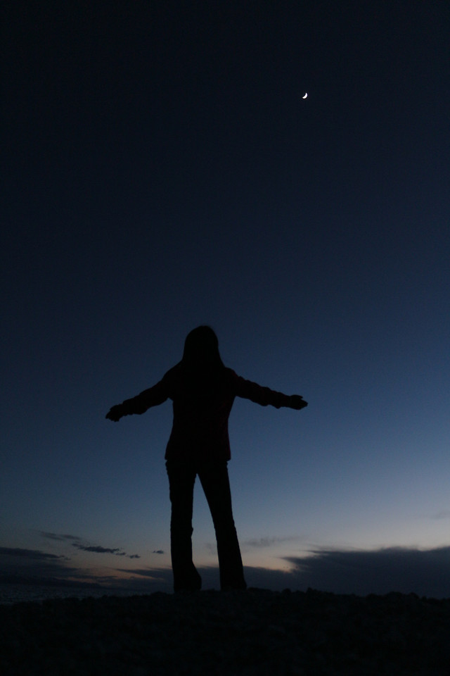 people-silhouette-sky-moon-sunset picture material
