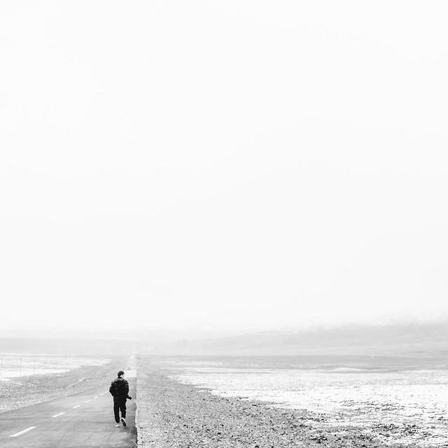 fog-beach-people-sea-monochrome picture material
