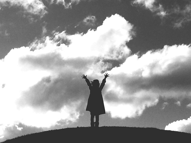 people-sky-silhouette-cloud-monochrome picture material