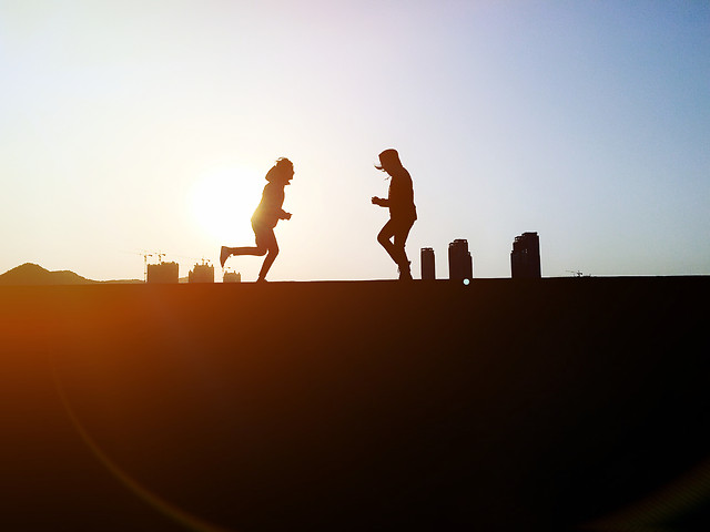 sunset-people-backlit-sky-beach picture material