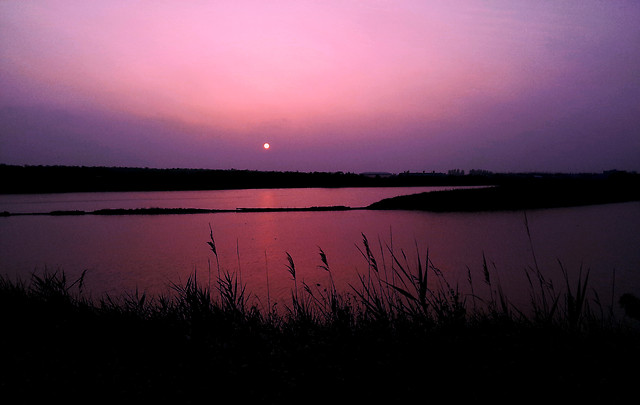 sunset-dawn-lake-water-evening picture material