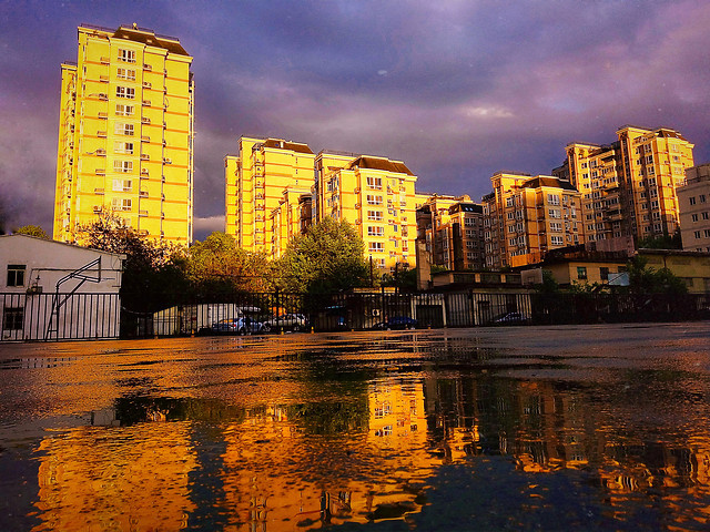 city-architecture-water-reflection-sunset picture material