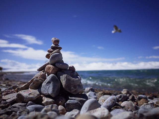 rock-beach-sea-seashore-sky picture material