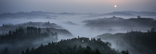 fog-mountain-landscape-sunset-sky picture material