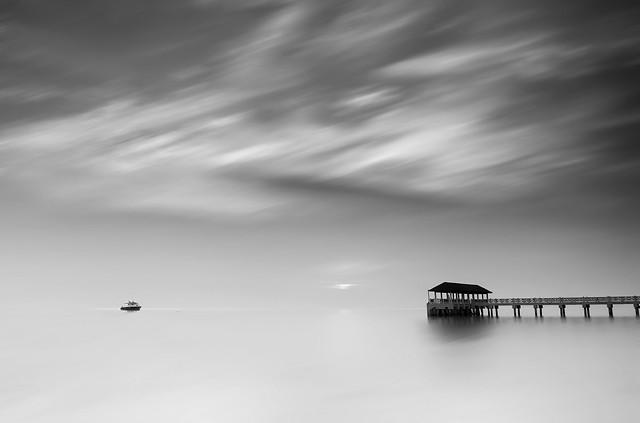 landscape-beach-sky-sea-white picture material