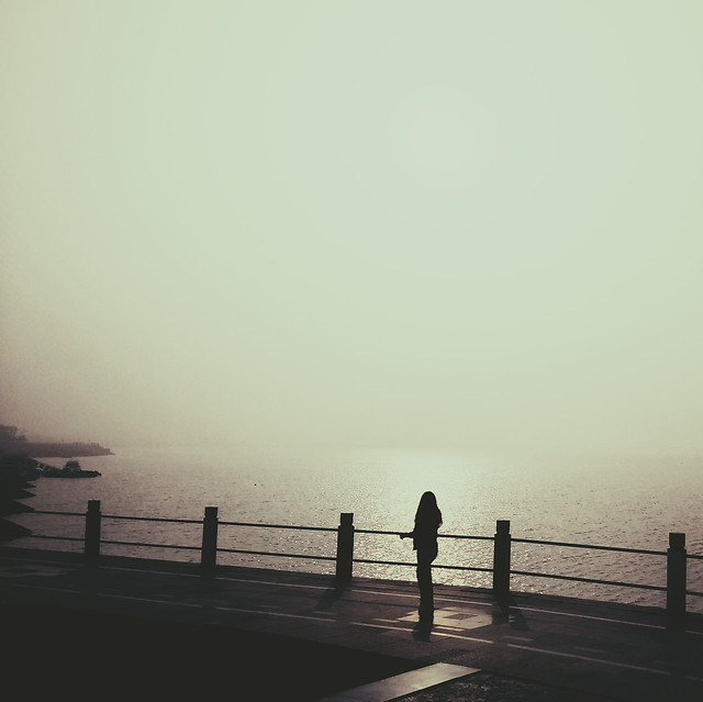 fog-dawn-sunset-beach-water picture material