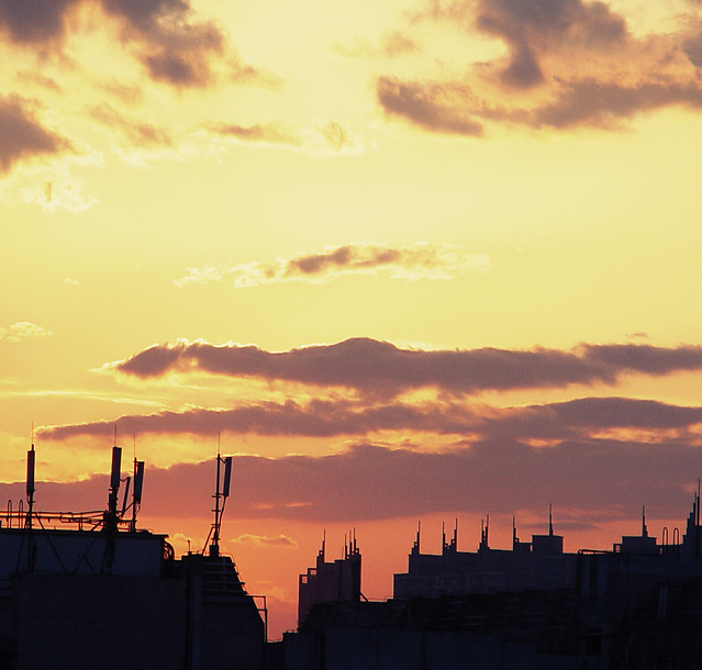 sunset-dawn-sky-city-industry picture material