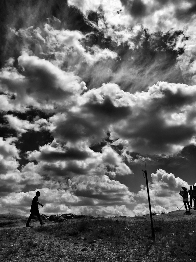 people-sky-cloud-sunset-monochrome picture material