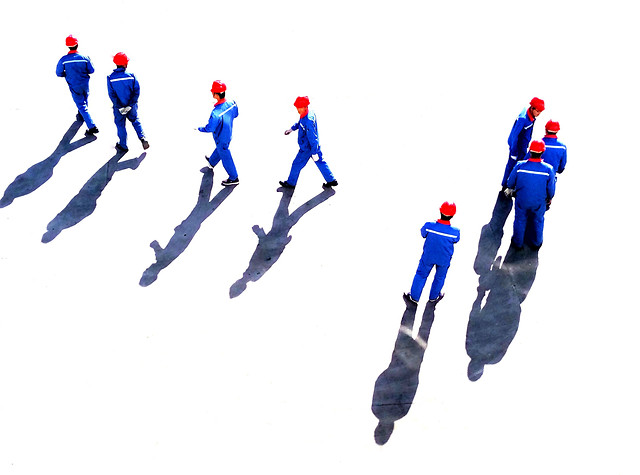 man-teamwork-blue-people-cooperation picture material
