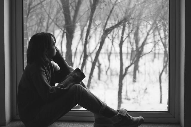 people-portrait-girl-monochrome-window picture material