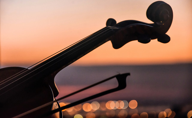 sunset-no-person-string-instrument-musical-instrument-sky picture material