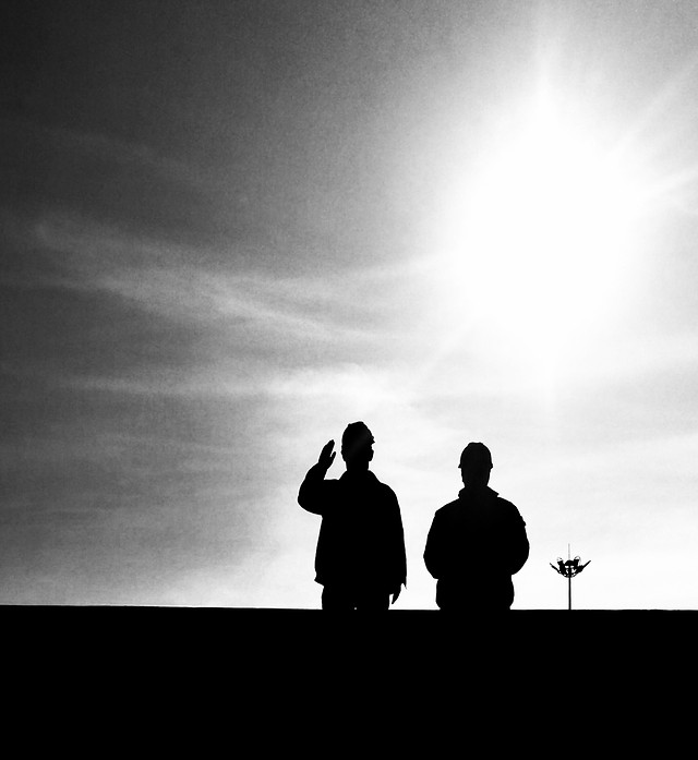silhouette-people-sunset-monochrome-man picture material