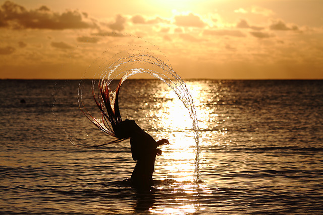 sunset-beach-water-sea-dawn picture material