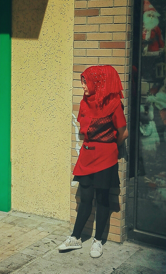 people-red-street-one-standing picture material