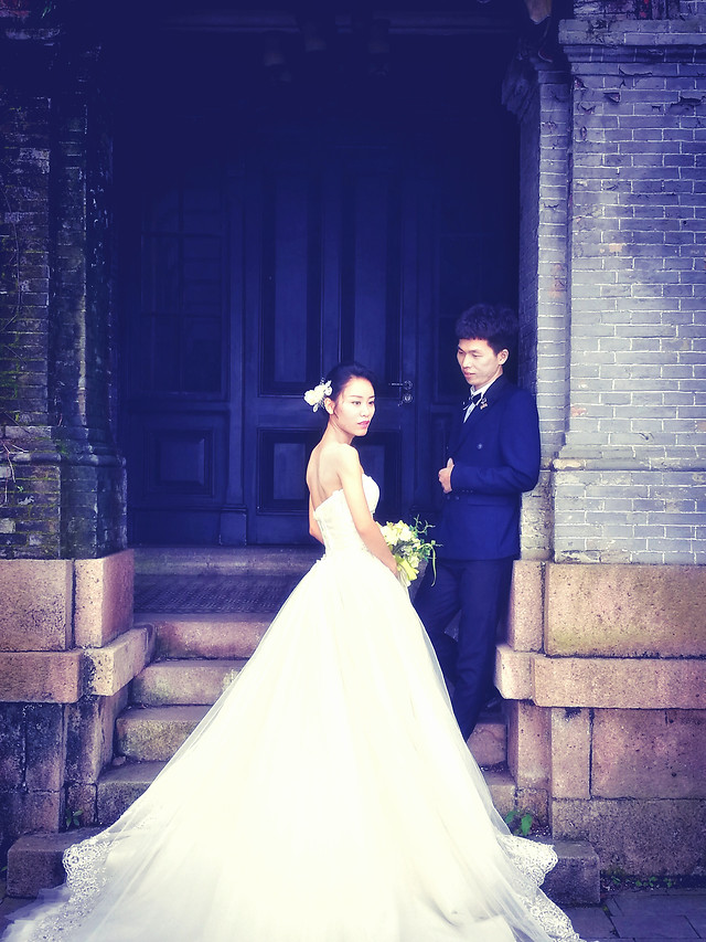 bride-wedding-veil-gown-groom picture material