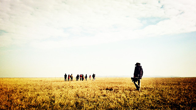 sunset-landscape-sky-cropland-people picture material