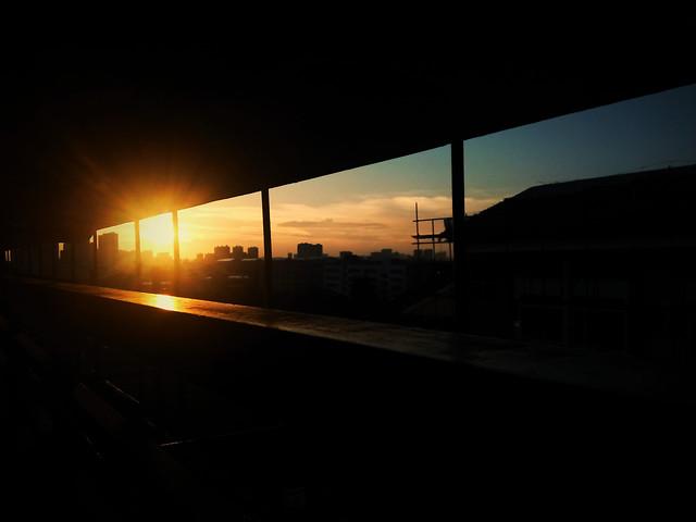 sunset-bridge-light-transportation-system-no-person picture material