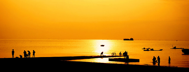 sunset-dawn-sea-beach-water 图片素材