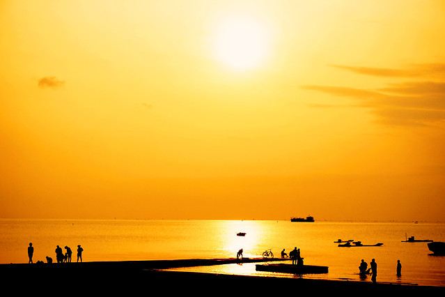 sunset-dawn-sun-sea-beach 图片素材