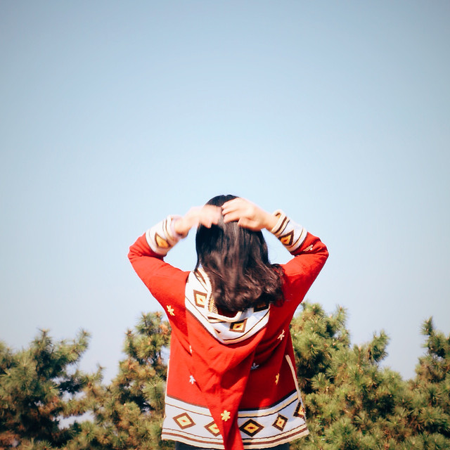 woman-outdoors-red-joy-nature picture material